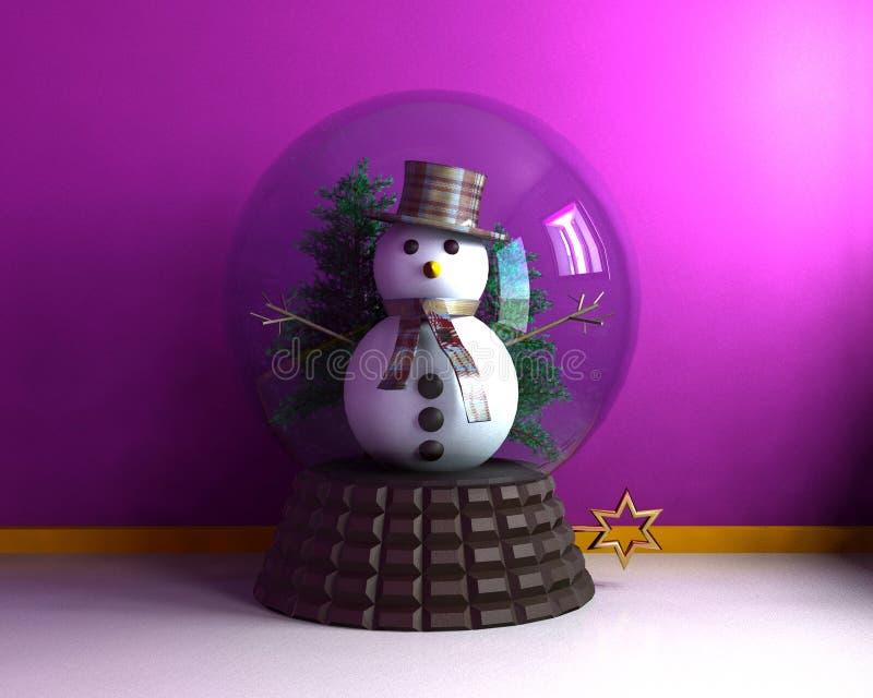 Carillon avec le bonhomme de neige mignon illustration stock
