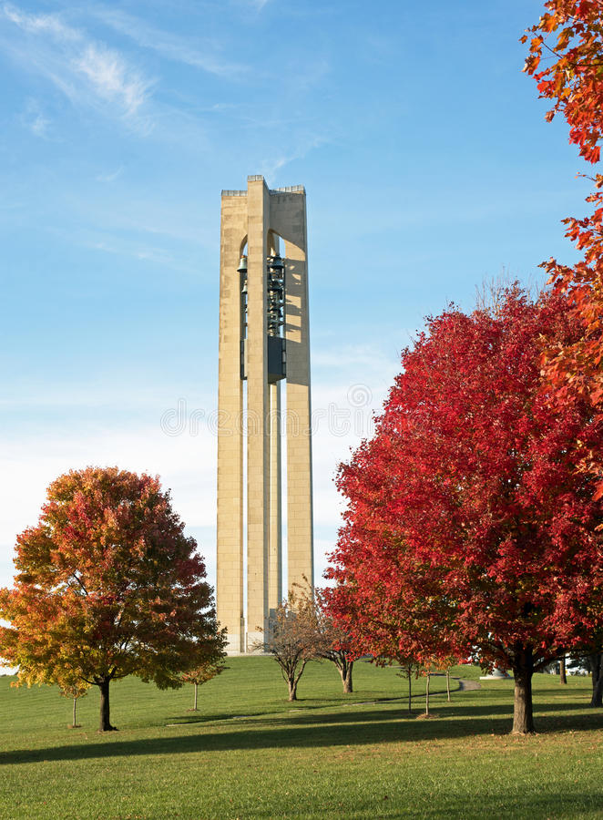 Carillon Bell Tower in Autumn. The Deeds Carillon Bell Tower was built in 1942 in Art modern-style to commemorate the Deeds family in Dayton, Ohio. The 151-foot royalty free stock photos