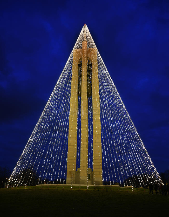 Carillon Bell Tower with Christmas Lights at Night, Vertical,HDR. Tree of Light - The Deeds Carillon Bell Tower, decorated with 20,000 white Christmas lights royalty free stock photos