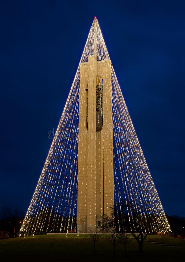 Carillon Bell Tower with Christmas Lights, NW Side, HDR. Tree of Light - The Deeds Carillon Bell Tower, decorated with 20, 000 white Christmas lights, was built stock photography