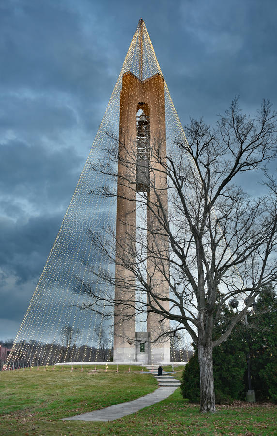 Carillon Bell Tower with Christmas Lights at Twilight, HDR. Tree of Light - The Deeds Carillon Bell Tower, decorated with 20,000 white Christmas lights, was stock images