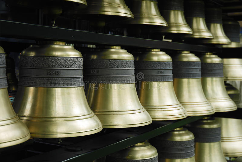 Carillon bells. Close-up of bronze carillon bells royalty free stock photos