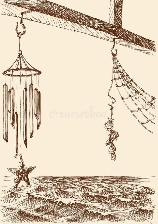 Carillon di vento sul portico di una casa di spiaggia illustrazione di stock