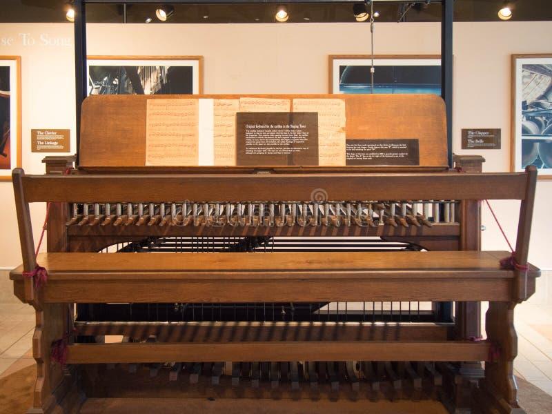 Carillontoetsenbord voor de Bok-Toren stock afbeeldingen