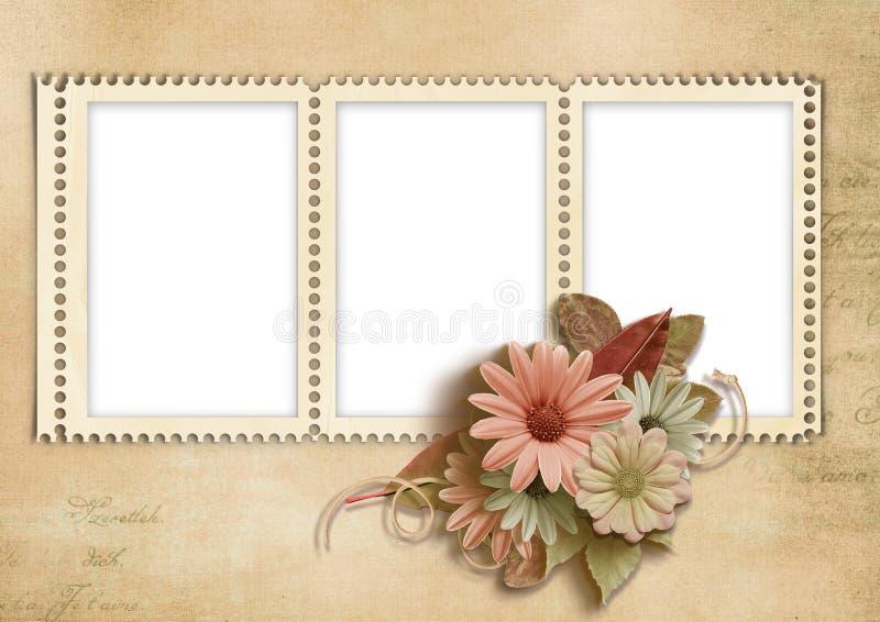 Carimbar-frames elegantes com flores do outono ilustração stock