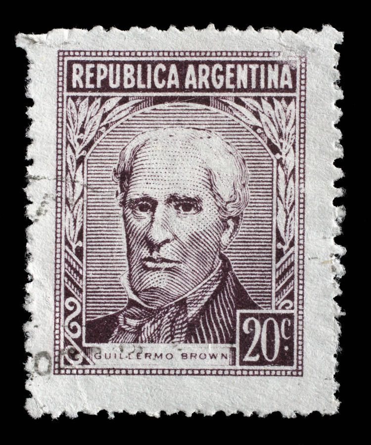 Carimbe Argentina impressa no retrato das mostras do almirante Guillermo Brown fotografia de stock