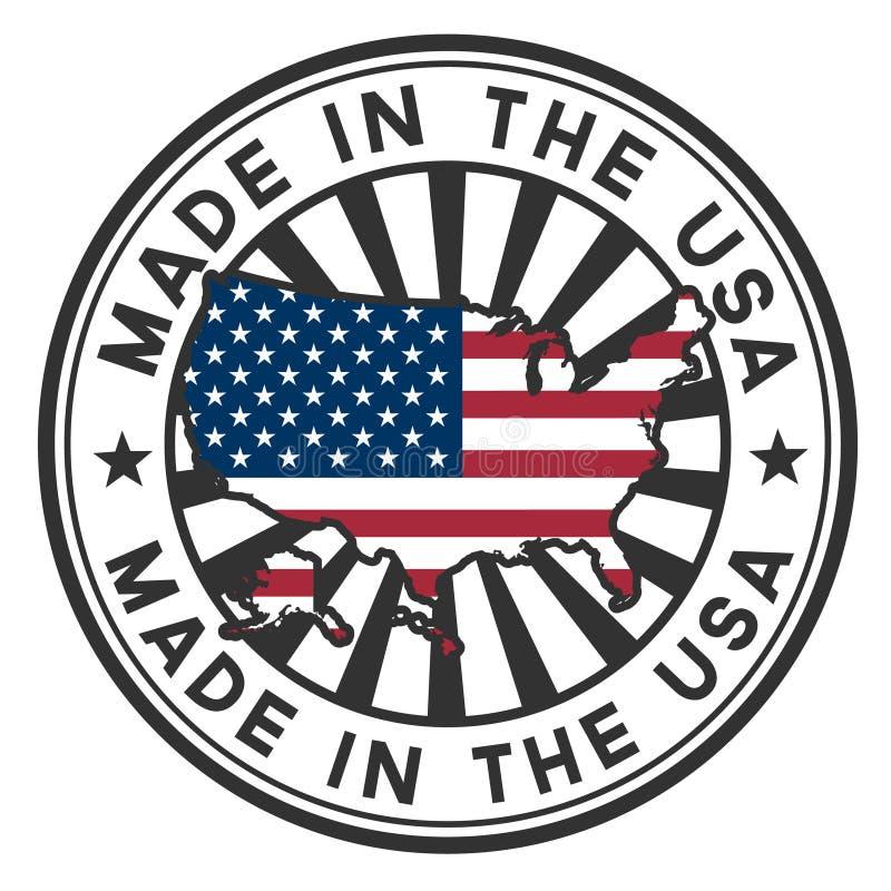 Carimbe com mapa, bandeira dos EUA. Feito nos EUA. ilustração royalty free