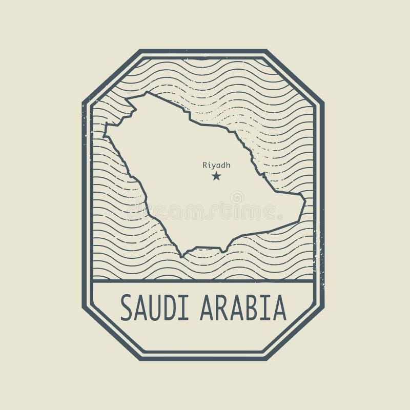 Carimbe com o nome e o mapa de Arábia Saudita ilustração do vetor