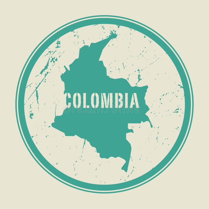 Carimbe com o nome e o mapa de Colômbia ilustração stock