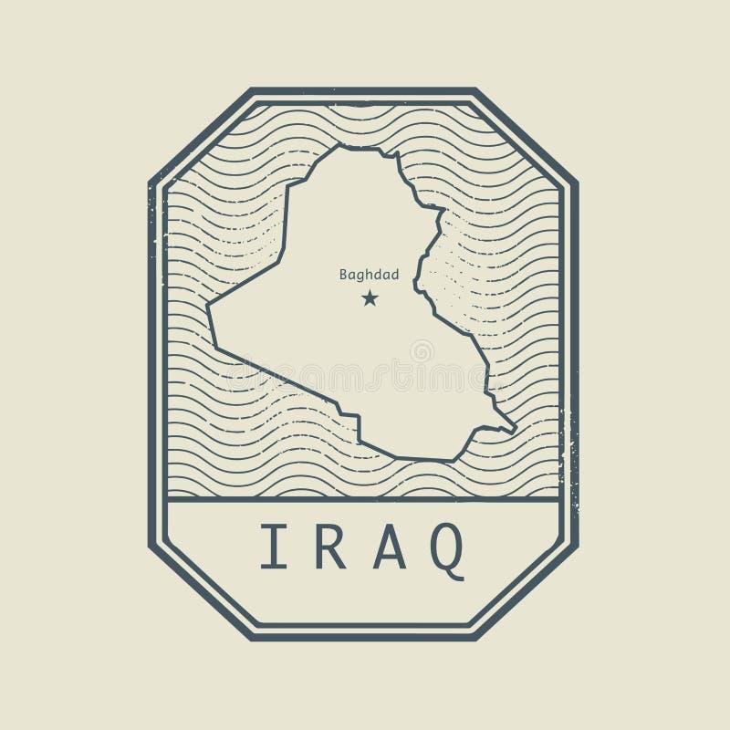 Carimbe com o nome e o mapa de Iraque ilustração royalty free