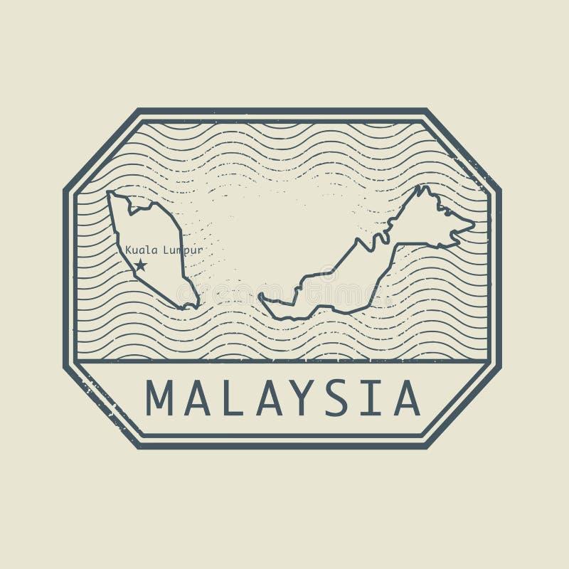 Carimbe com o nome e o mapa de Malásia ilustração do vetor