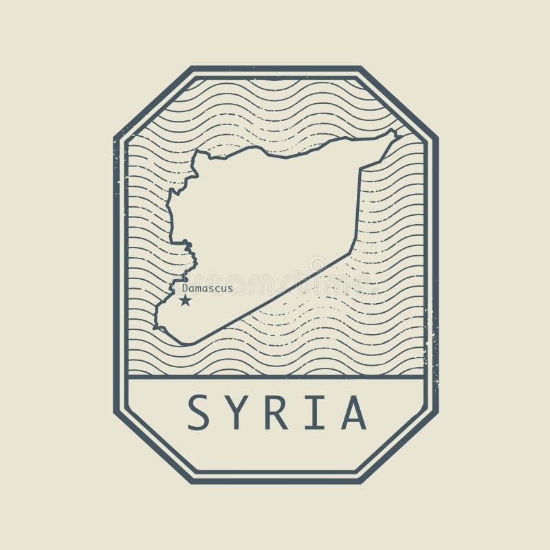Carimbe com o nome e o mapa de Síria ilustração do vetor