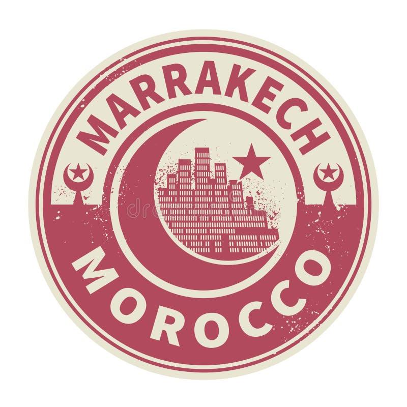 Carimbe ou emblema com texto C4marraquexe, Marrocos para dentro ilustração royalty free