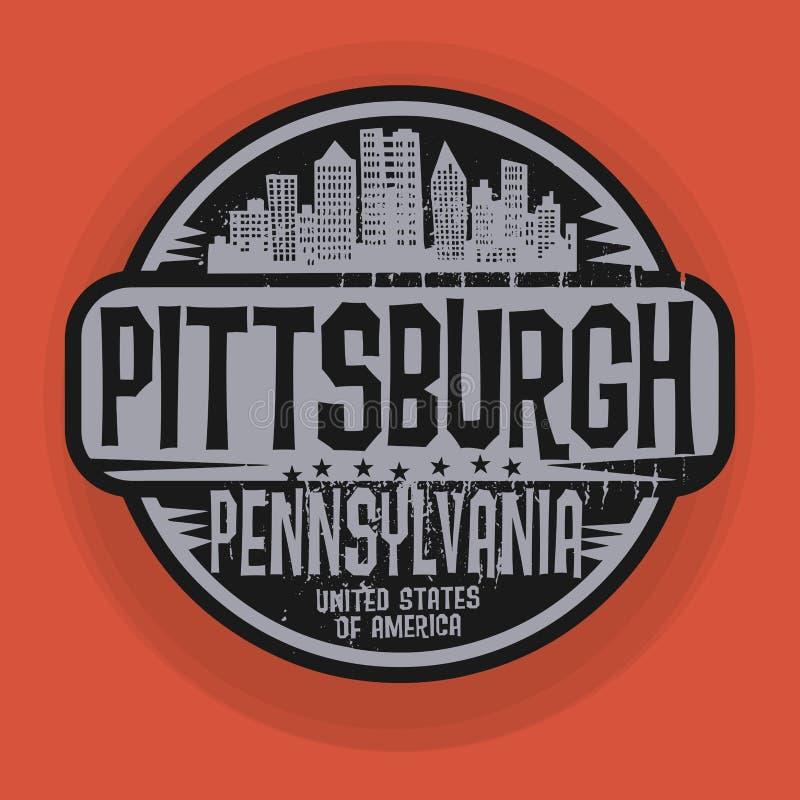 Carimbe ou etiqueta com nome de Pittsburgh, Pensilvânia ilustração do vetor