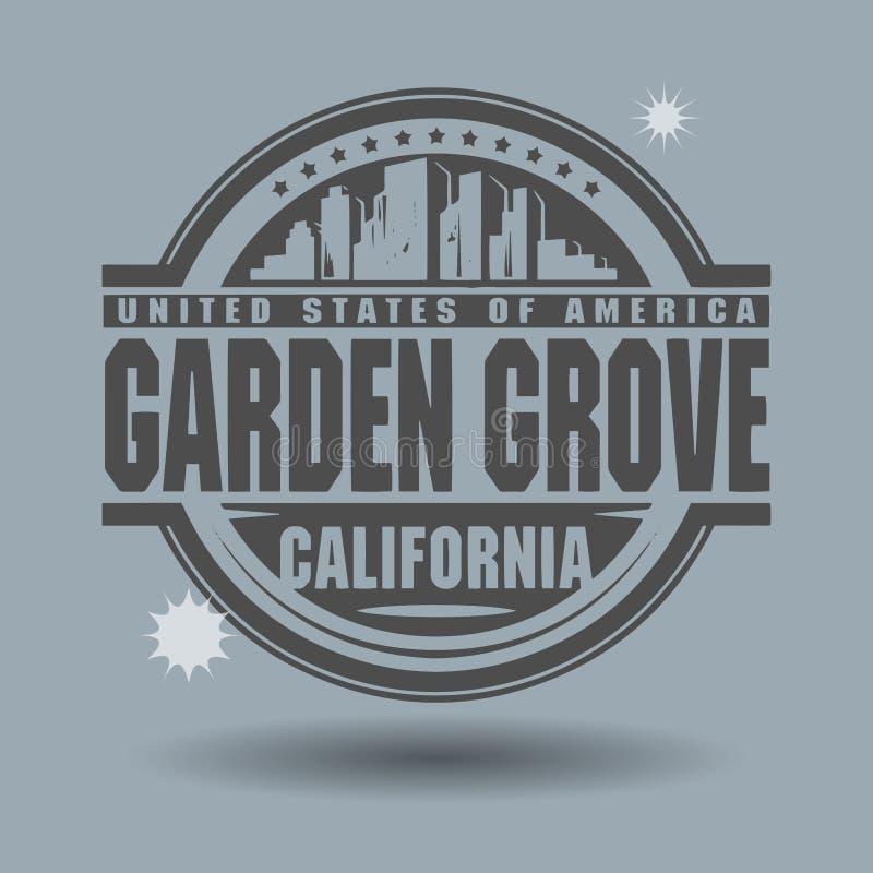 Carimbe ou etiqueta com o bosque do jardim do texto, Califórnia para dentro ilustração do vetor
