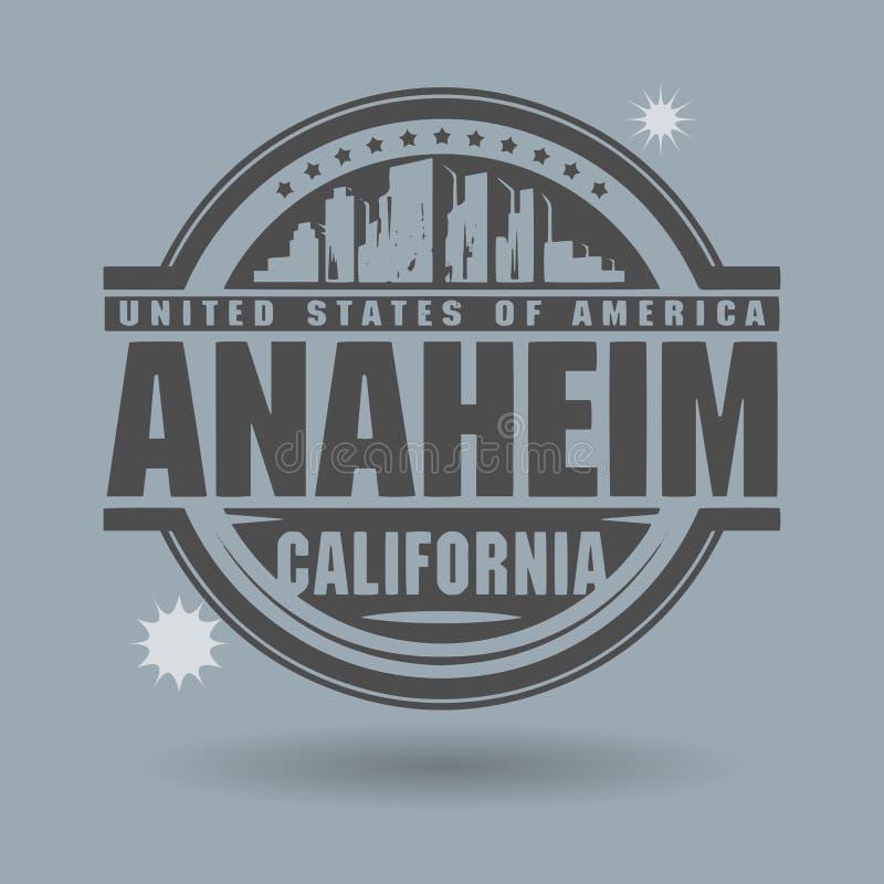 Carimbe ou etiqueta com texto Anaheim, Califórnia para dentro ilustração royalty free