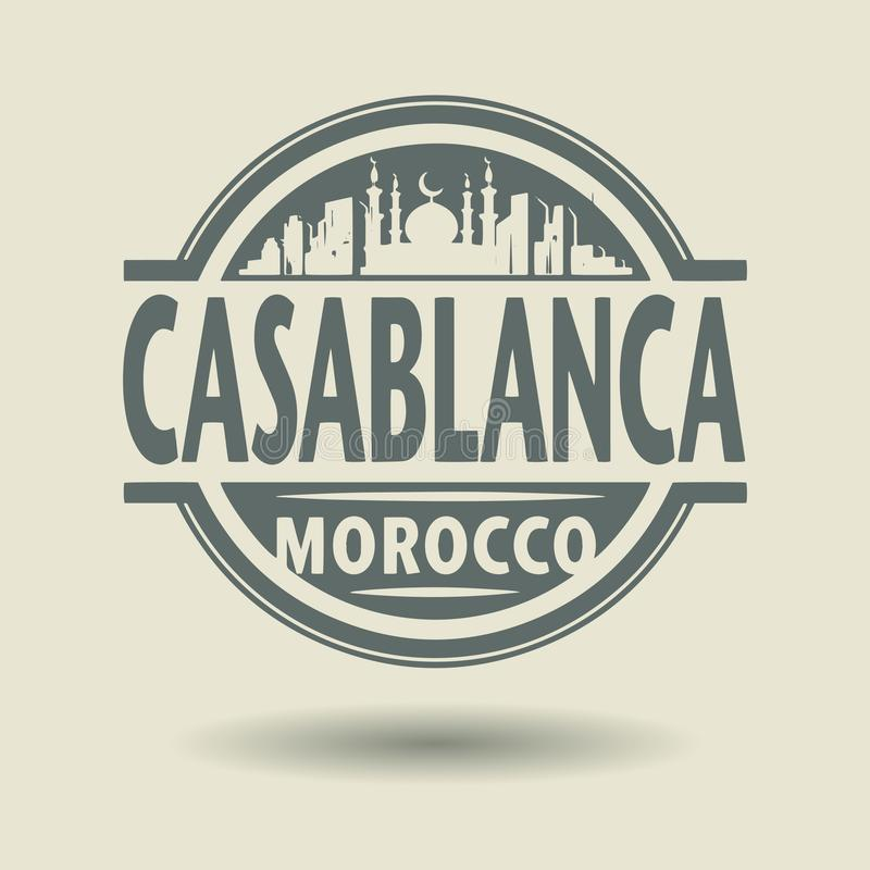 Carimbe ou etiqueta com texto Casablanca, Marrocos para dentro ilustração royalty free