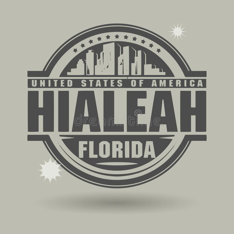 Carimbe ou etiqueta com texto Hialeah, Florida para dentro ilustração stock