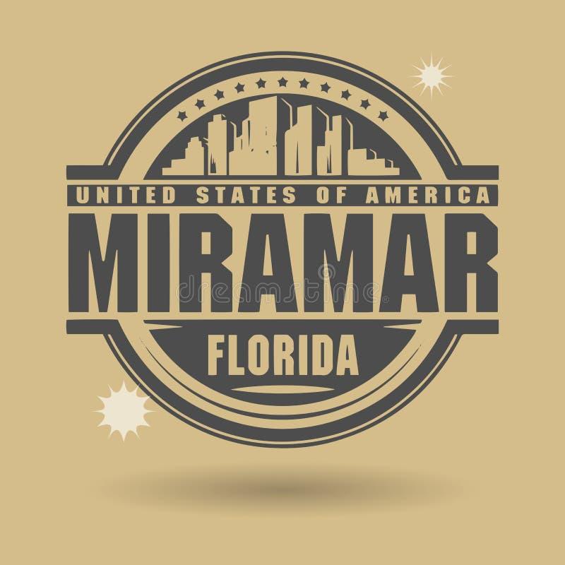 Carimbe ou etiqueta com texto Miramar, Florida para dentro ilustração stock