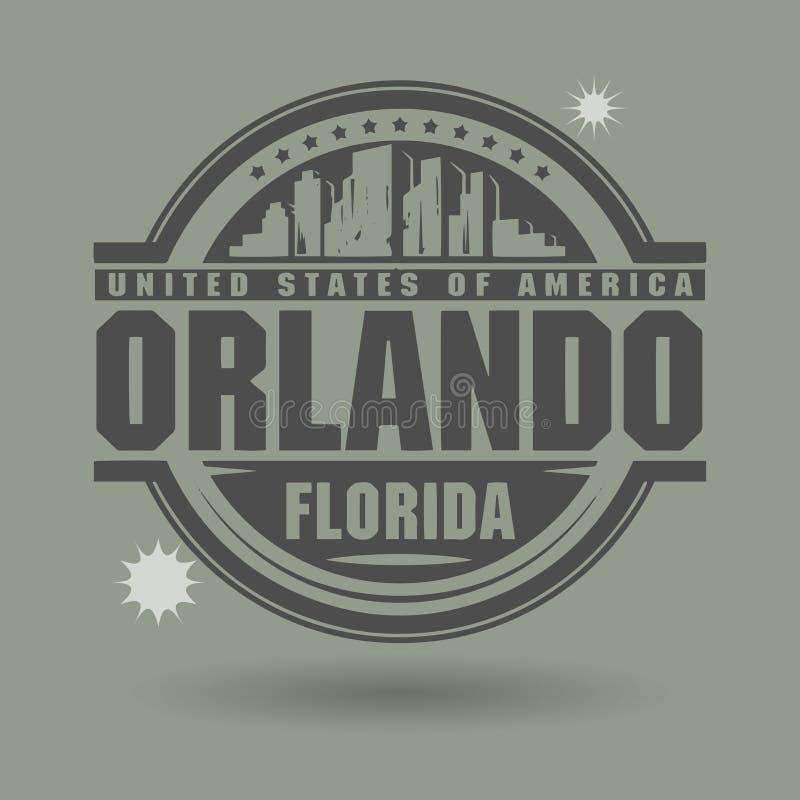 Carimbe ou etiqueta com texto Orlando, Florida para dentro ilustração royalty free
