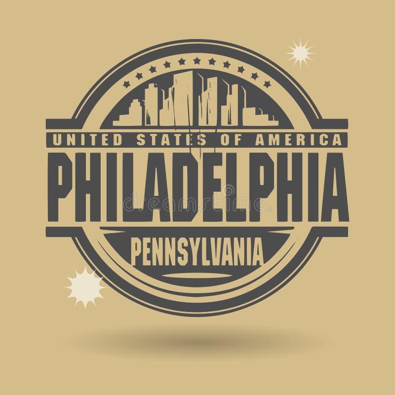 Carimbe ou etiqueta com texto Philadelphfia, Pensilvânia para dentro ilustração stock