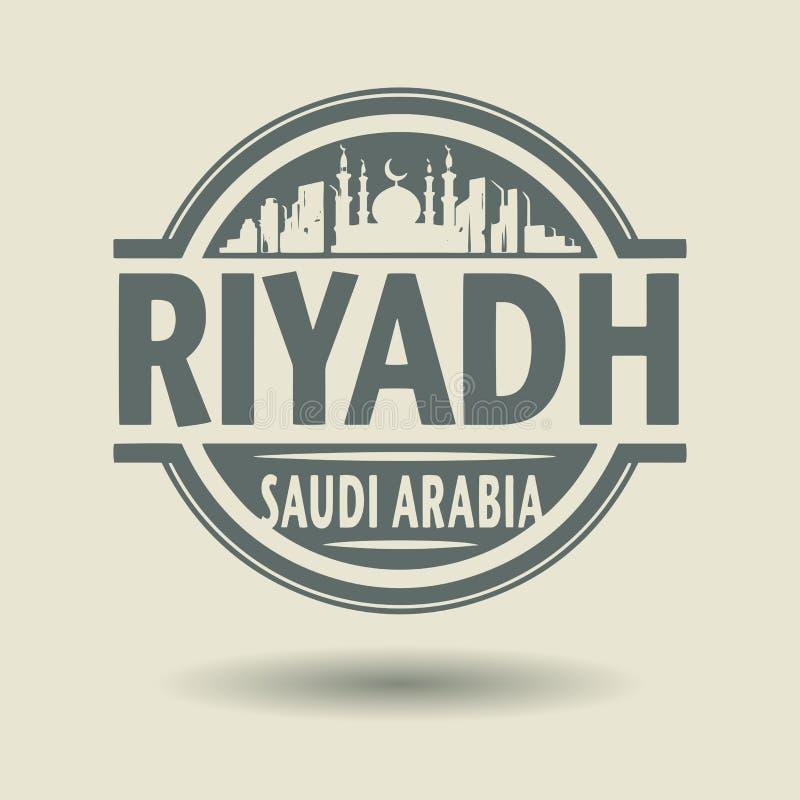 Carimbe ou etiqueta com texto Riyadh, Arábia Saudita para dentro ilustração stock