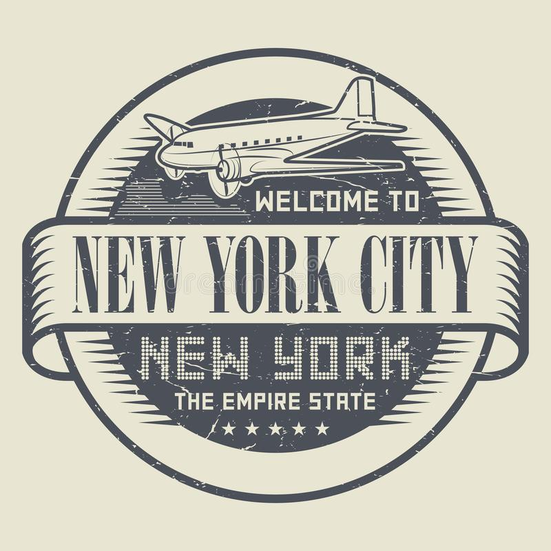 Carimbe ou etiquete com a boa vinda do texto a New York, New York City ilustração royalty free