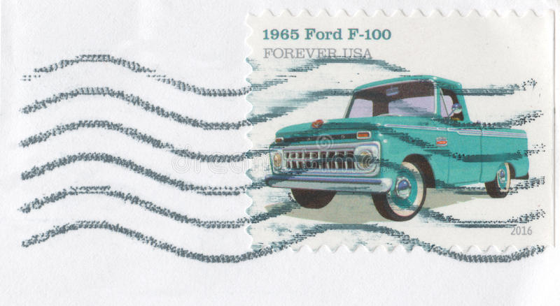 2016 carimbe para sempre Ford Pickup 1965 fotografia de stock royalty free