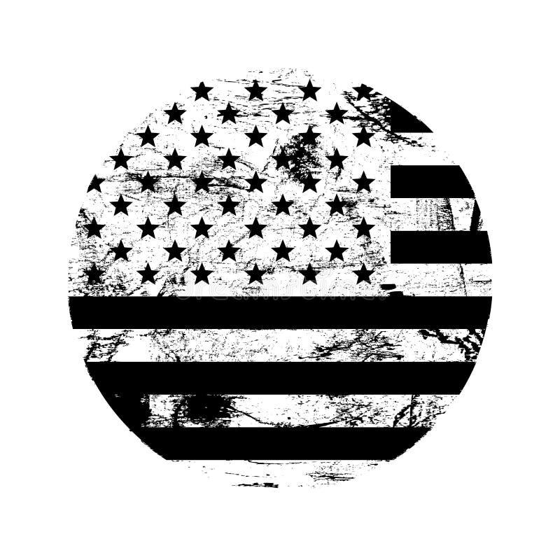 Carimbo de borracha americano do grunge dos EUA com a bandeira dos EUA, preto isolada no fundo branco, ilustração ilustração do vetor