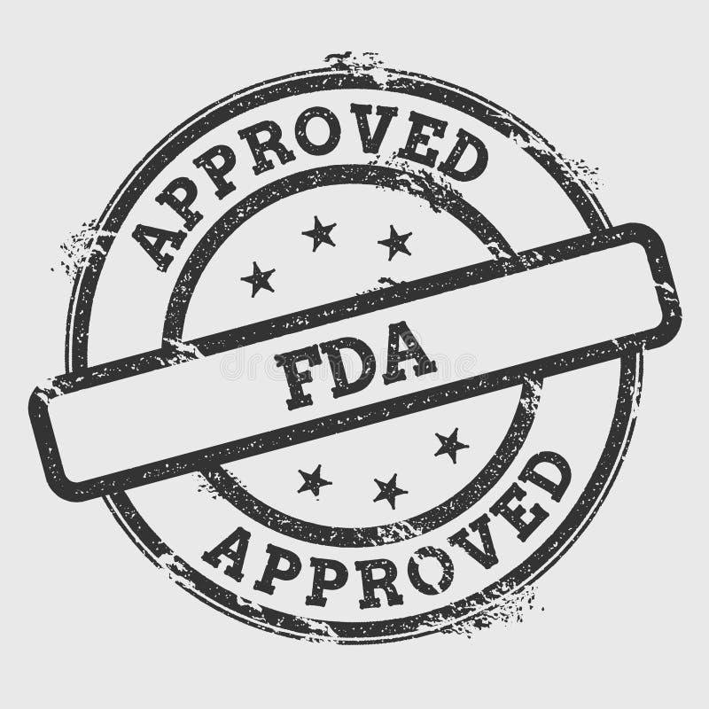 Carimbo de borracha aprovado de FDA isolado no branco ilustração stock