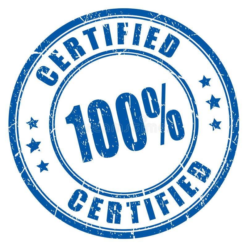 carimbo de borracha certificado 100 ilustração royalty free