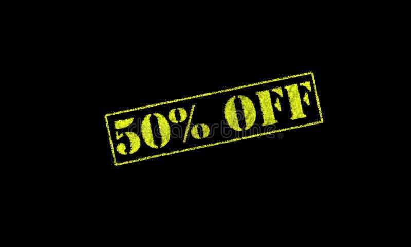 carimbo de borracha 50 cinqüênta por cento % fora em um fundo preto ilustração do vetor
