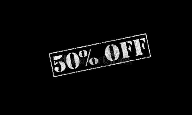 carimbo de borracha 50 cinqüênta por cento % fora em um fundo preto fotografia de stock