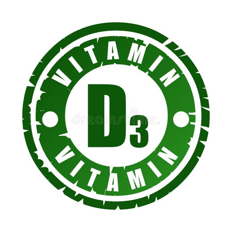 Carimbo de borracha com vitamina D3 ilustração stock