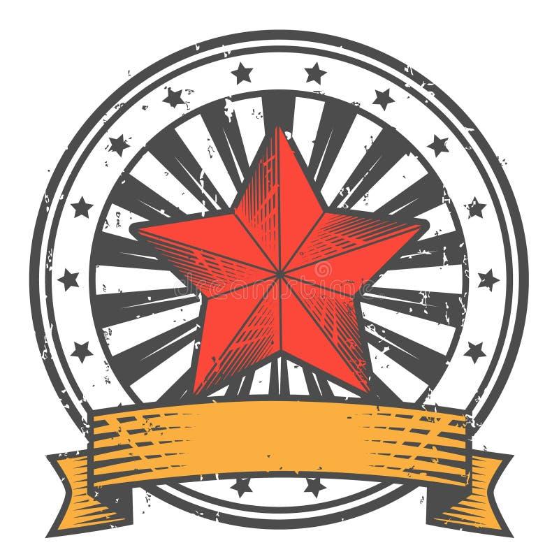 Carimbo de borracha de Grunge com a estrela no estilo soviético ilustração do vetor