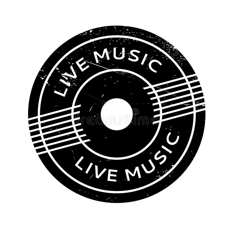 Carimbo de borracha de Live Music ilustração stock