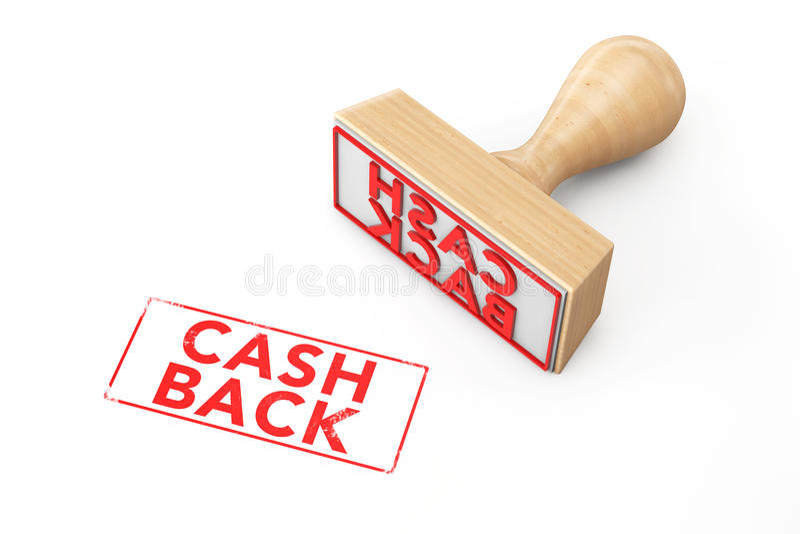 Carimbo de borracha de madeira com sinal da parte traseira do dinheiro ilustração do vetor