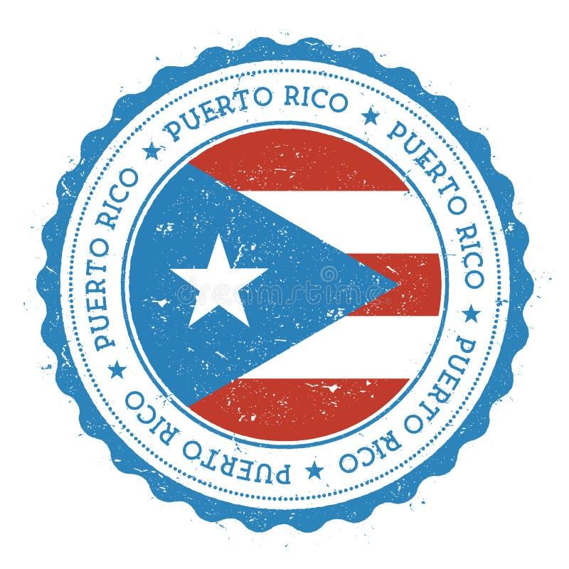 Carimbo de borracha do Grunge com bandeira de Porto Rico ilustração royalty free