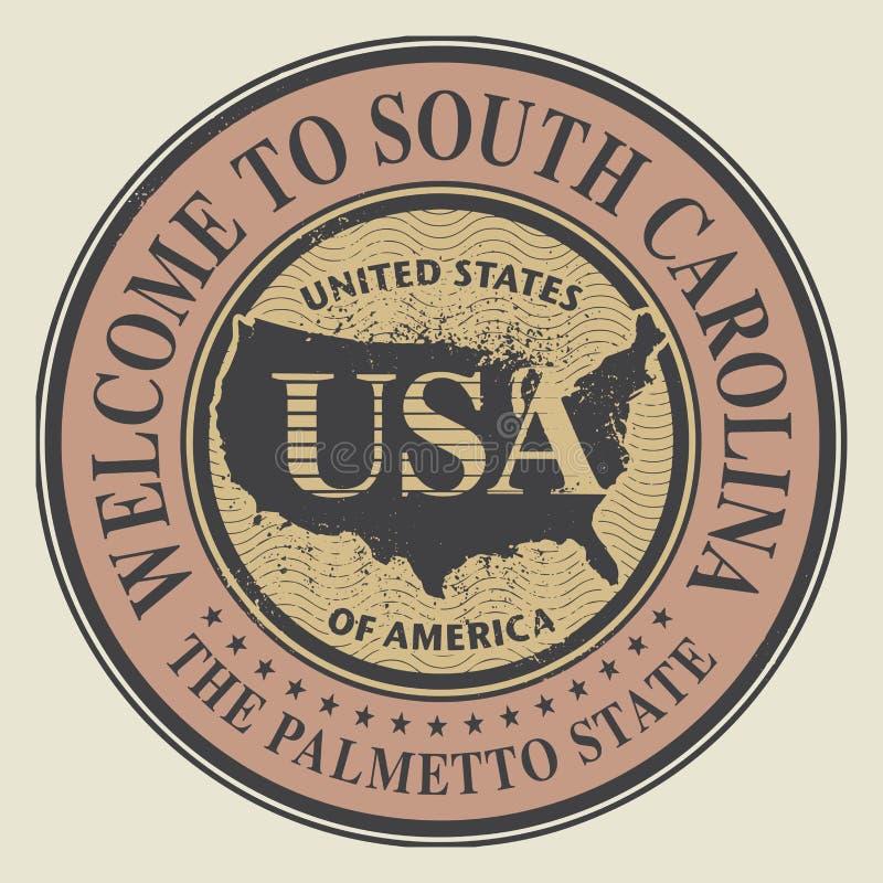 Carimbo de borracha do Grunge com boa vinda do texto a South Carolina ilustração stock