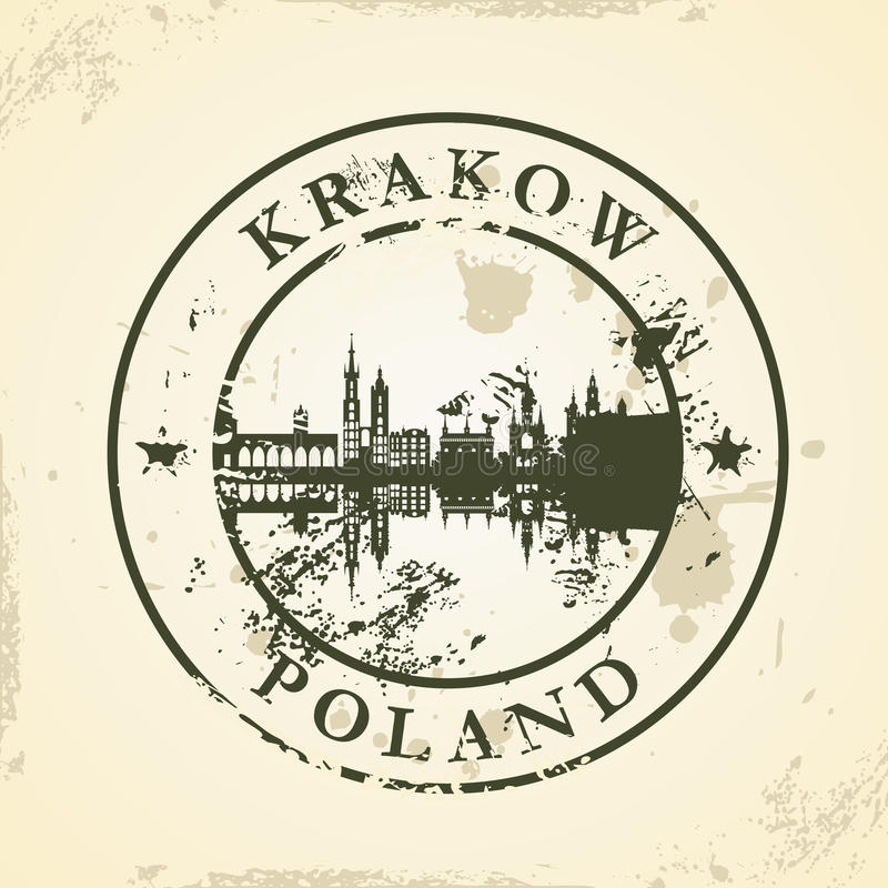 Carimbo de borracha do Grunge com Krakow, Polônia ilustração stock