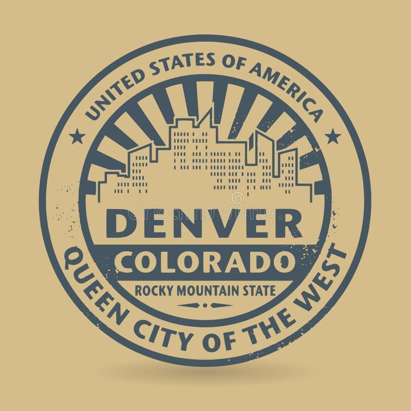 Carimbo de borracha do Grunge com nome de Denver, Colorado ilustração stock