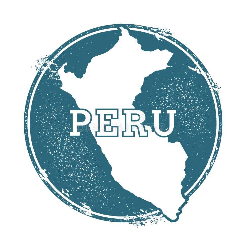 Carimbo de borracha do Grunge com nome e mapa do Peru ilustração do vetor
