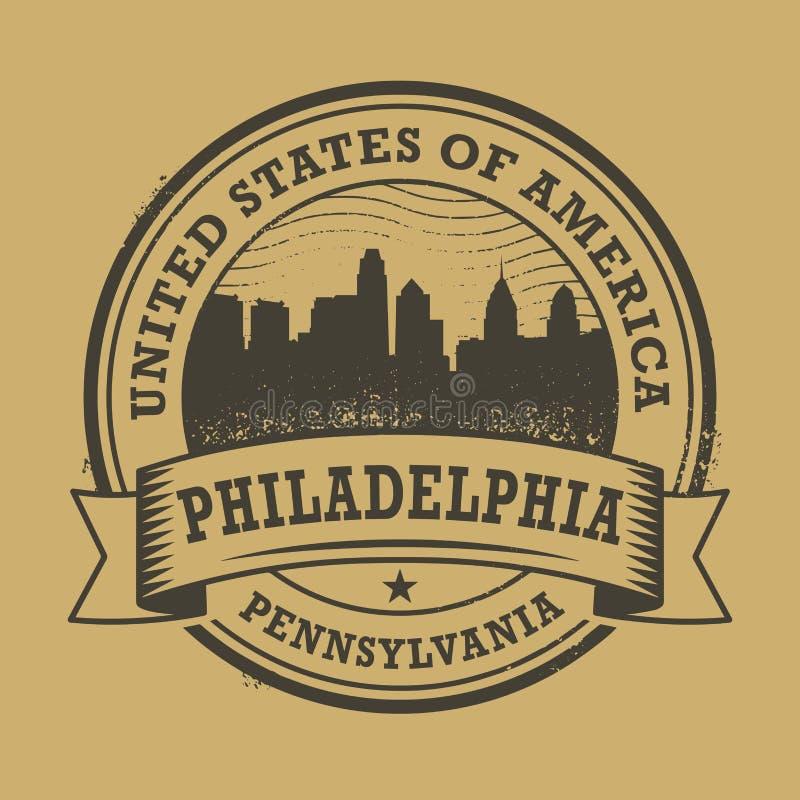 Carimbo de borracha do Grunge com nome de Pensilvânia, Philadelphfia ilustração stock
