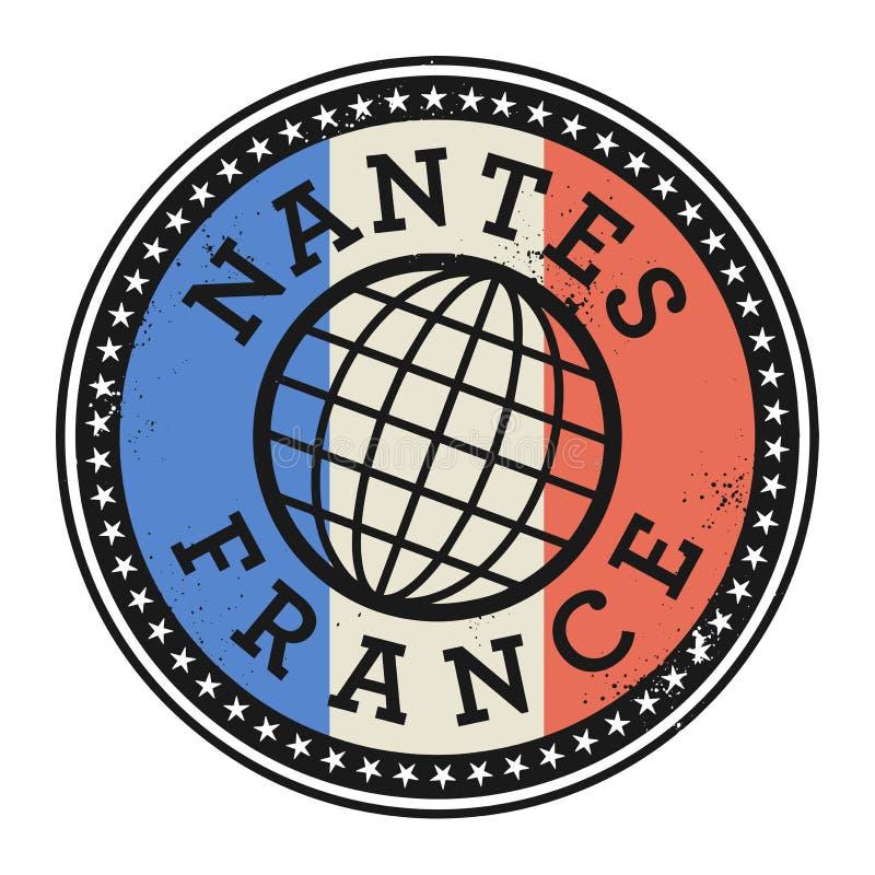 Carimbo de borracha do Grunge com o texto Nantes, França ilustração do vetor