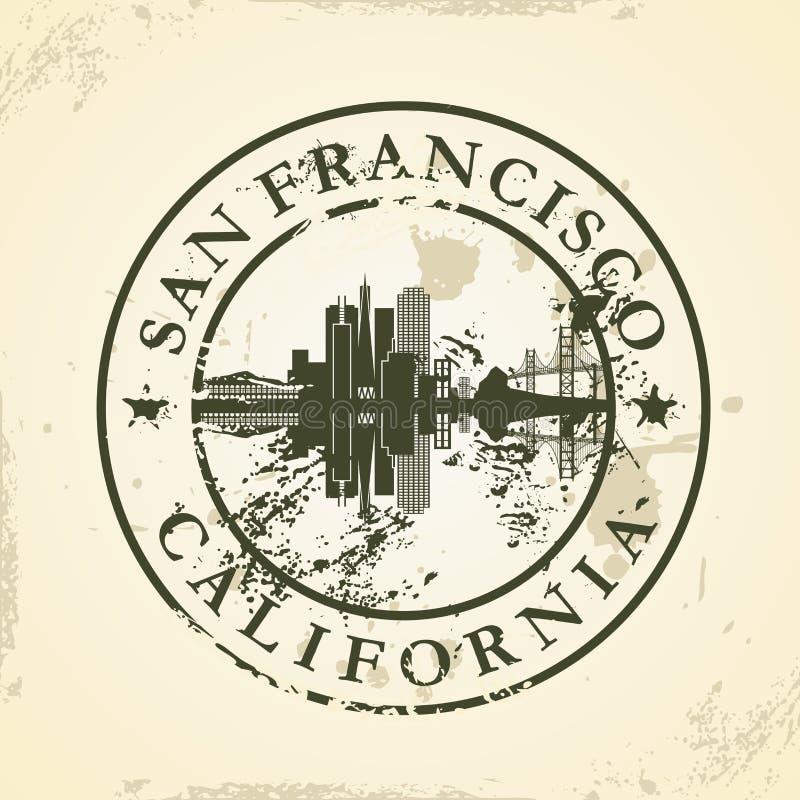 Carimbo de borracha do Grunge com San Francisco, Califórnia ilustração royalty free