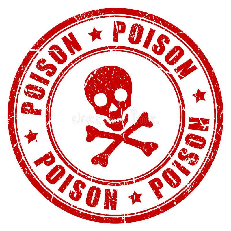 Carimbo de borracha do perigo do veneno ilustração stock