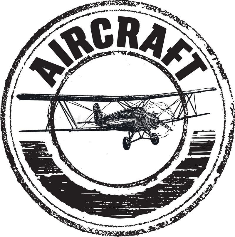 Carimbo de borracha dos aviões ilustração stock