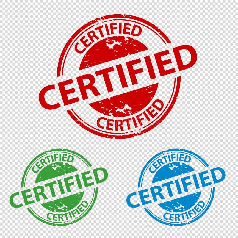 Carimbo de borracha - ilustração colorida do vetor - Tra certificado selo ilustração do vetor