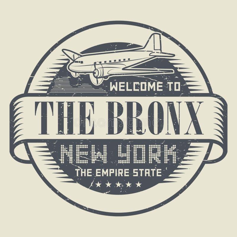 Carimbo de borracha ou etiqueta do Grunge com boa vinda ao Bronx, Y novo do texto ilustração do vetor