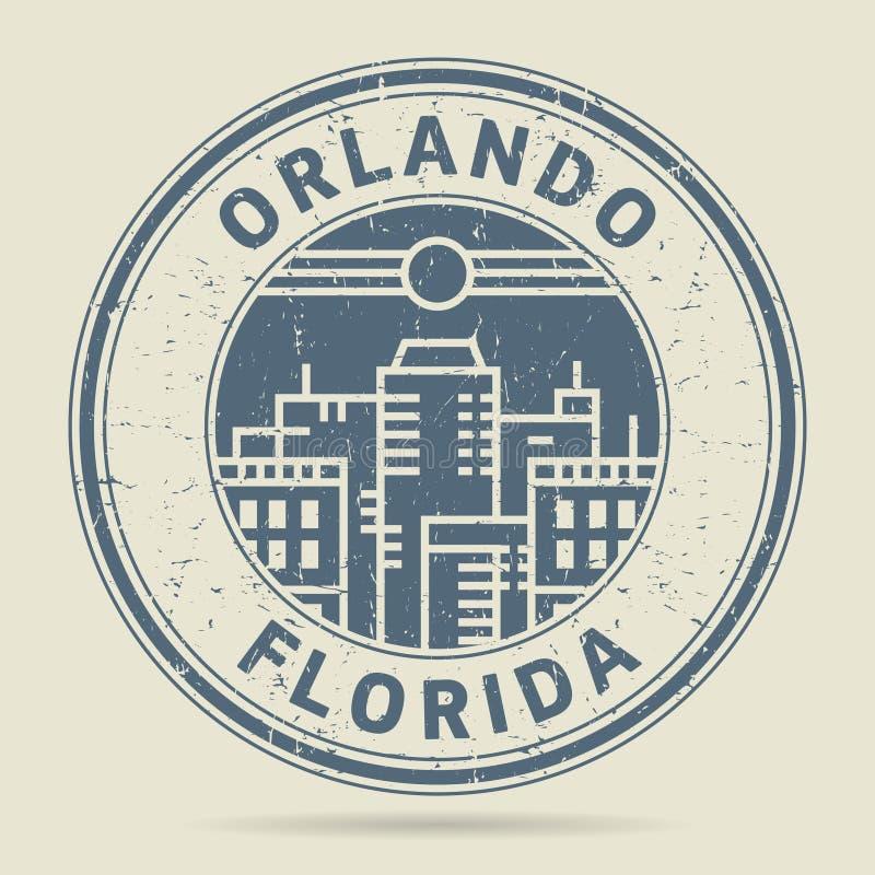Carimbo de borracha ou etiqueta do Grunge com texto Orlando, Florida ilustração do vetor